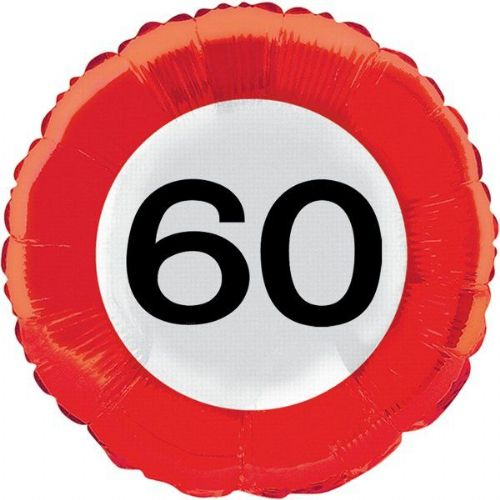 Traffic Sign 60th Party Foil Balloon Packet Birthday Helium